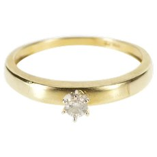 10K Diamond Inset Solitaire Classic Engagement Ring Size 7 Yellow Gold [QWXK]