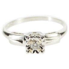 14K Retro Squared Floral Diamond Inset Engagement Ring Size 7 White Gold [QWXK]