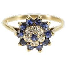 10K Round Sapphire Diamond Halo Cluster Ring Size 6 Yellow Gold [QWXK]