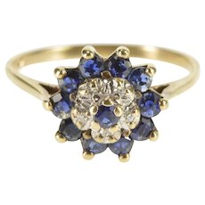 10K Round Sapphire Diamond Halo Cluster Ring Size 6 Yellow Gold [QRXC]