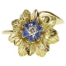 14K Ornate Diamond Sapphire Halo Flower Cocktail Ring Size 8 Yellow Gold [QWXK]