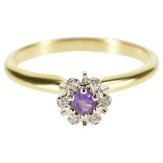 14K Round Amethyst Diamond Halo Cluster Ring Size 6.25 Yellow Gold [QWXK]