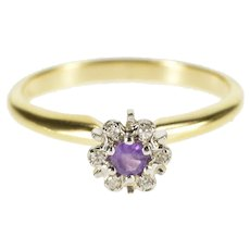 14K Round Amethyst Diamond Halo Cluster Ring Size 6.25 Yellow Gold [QRXC]