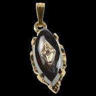 10K Marquise Black Onyx Diamond Overlay Pendant White Gold  [QRXC]
