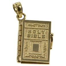 14K Articulated Ornate Holy Bible Lords Prayer Charm/Pendant Yellow Gold  [QWXS]