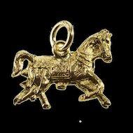 14K Ornately Detailed Trotting Horse Pony Charm/Pendant Yellow Gold  [QRXC]
