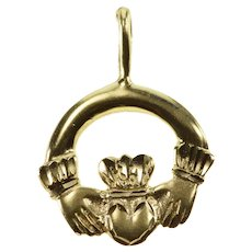 14K Traditional Celtic Irish Claddagh Loyalty Charm/Pendant Yellow Gold  [QRXC]