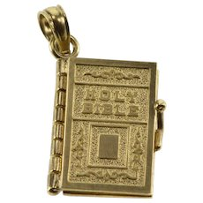 14K Holy Bible Lords Prayer Christian Religious Charm/Pendant Yellow Gold  [QWXS]