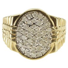 10K 1.32 Ctw Oval Diamond Cluster Men's Statement Ring Size 10 Yellow Gold [QWXK]