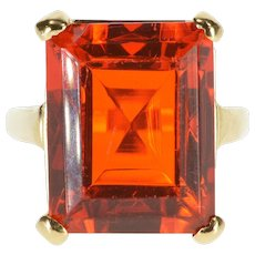 14K Emerald Cut Sim. Mexican Fire Opal Solitaire Ring Size 6.25 Yellow Gold [QWXS]