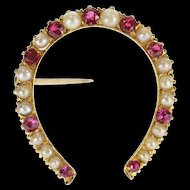 14K Retro Seed Pearl Sim. Ruby Inset Horseshoe Pin/Brooch Yellow Gold [QRXP]