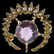 14K Ornate Victorian Amethyst Seed Pearl Burst Pin/Brooch Yellow Gold [QRXP]