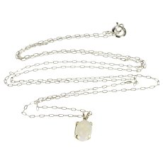 "14K 0.9mm Cable Link Chain Oval Syn. Opal Pendant Necklace 17.4"" White Gold  [QWXS]"