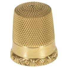 10K Ornate Etched Scroll Trim Sewing Tool Thimble Yellow Gold  [QRXC]