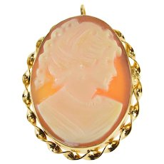Gold Filled Oval Ornate Carved Shell Cameo Twist Trim Pendant/Pin   [QRXC]