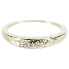 14K Diamond Inset Wavy Textured Wedding Band Ring Size 6 White Gold [QWXS]