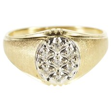 10K Oval Diamond Cluster Textured Rounded Men's Ring Size 11 Yellow Gold [QWXS]