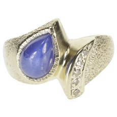 14K Pear Syn. Blue Star Sapphire Diamond Freeform Ring Size 8.75 White Gold [QWXS]