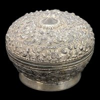 Sterling Silver Ornate Floral Motif Small Serving Dish    [QWXK]