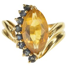 14K Marquise Citrine Syn. Sapphire Semi Halo Bypass Ring Size 5.5 Yellow Gold [QWXS]
