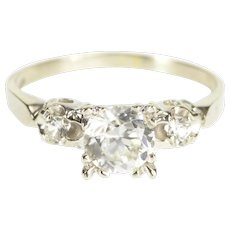 10K Ornate Three Stone Retro Travel Engagement Ring Size 7.25 White Gold [QWXS]
