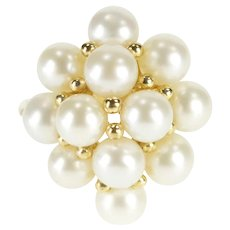 10K Pearl Encrusted Inset Cluster Cocktail Ring Size 6.75 Yellow Gold [QRXC]