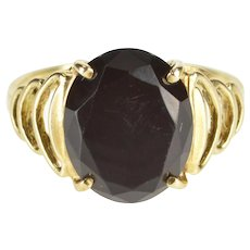 10K Oval Black Onyx Inset Scalloped Trim Ring Size 7 Yellow Gold [QWXS]