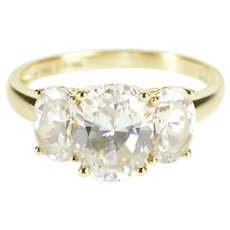 14K Three Stone Oval Prong Set Travel Engagement Ring Size 7 Yellow Gold [QRXP]