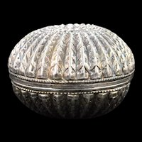 Sterling Silver Two-Piece Round Ornate Box    [QWXK]
