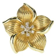 14K Scallop Groove Hibiscus Flower White Sapphire Ring Size 8.25 Yellow Gold [QWXS]