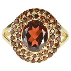 14K Sim. Garnet Tiered Halo Statement Cocktail Ring Size 7.75 Yellow Gold [QRXC]