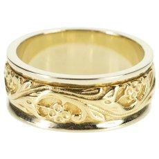 14K Ornate Two Tone Swirl Scroll Wedding Band Ring Size 5.5 Yellow Gold [QWXS]