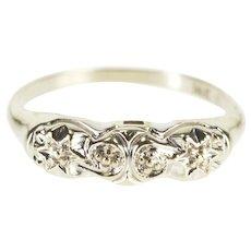 14K Retro Ornate Star Swirl Design Wedding Band Ring Size 5.5 White Gold [QWXS]
