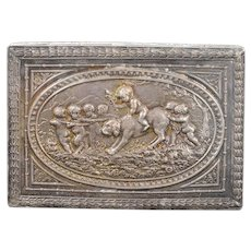 925Sterling Silver Ornate Babies & Dog Floral Motif Box    [QWXK]