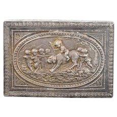 925Sterling Silver Ornate Babies & Dog Floral Motif Box    [QWXK]