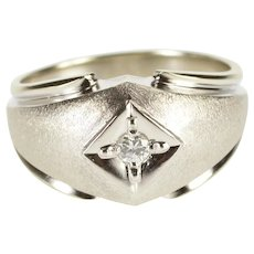 14K 0.12 Ct Diamond Inset Rounded Textured Men's Ring Size 10.25 White Gold [QRXC]