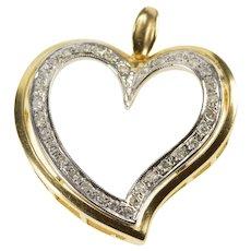 14K Wavy Diamond Inset Two Tone Curvy Heart Pendant Yellow Gold  [QRXC]