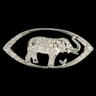 Platinum 1.60 Ctw Diamond Encrusted Pointed Oval Elephant Pin/Brooch  [QRXP]