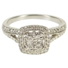 Sterling Silver 0.25 Ctw Diamond Encrusted Ornate Engagement Ring Size 7.5  [QWXS]