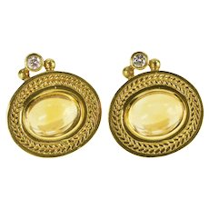 18K 4.12 Ctw Oval Citrine Diamond Accent Clip Back Earrings Yellow Gold  [QRXC]