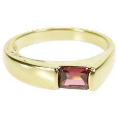 14K Emerald Cut Pink Tourmaline Geometric Band Ring Size 6 Yellow Gold [QWXS]