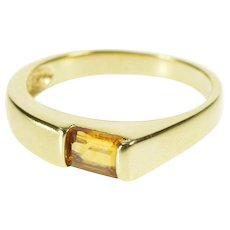 14K Emerald Cut Citrine Solitaire Geometric Band Ring Size 6 Yellow Gold [QWXS]