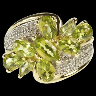 10K Syn. Peridot Cluster Diamond Pave Bypass Ring Size 7.25 Yellow Gold [QWXS]