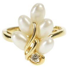 14K Pearl Cluster Diamond Statement Cocktail Ring Size 6.25 Yellow Gold [QRXC]