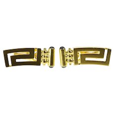 18K Curved Greek Key Wave Pattern French Clip Earrings Yellow Gold  [QRXC]