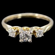14K 0.39 Ctw Diamond Three Stone 3 Engagement Ring Size 5.25 Yellow Gold [QWXP]