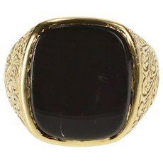 10K Black Onyx Inset Ornate Carved Scroll Design Ring Size 7 Yellow Gold [QWXS]