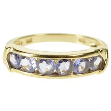 14K Tanzanite Channel Inset X Accent Wedding Band Ring Size 7 Yellow Gold [QWXS]
