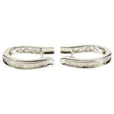 14K Baguette Channel Diamond Inset Oval Hoop Earrings White Gold  [QWXS]