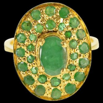 22K 1.65 Ctw Oval Emerald Encrusted Ornate Cocktail Ring Size 7.5 Yellow Gold [QWXP]